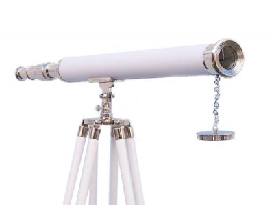 Hampton Collection Chrome with Leather Harbor Master Telescope 60