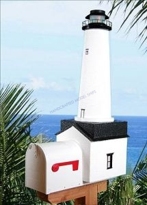 Fenwick-Cape Cod Solar Powered Stucco Lighthouse Mailbox 36