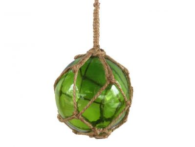 Green Japanese Glass Ball Fishing Float With Brown Netting Decoration 4\