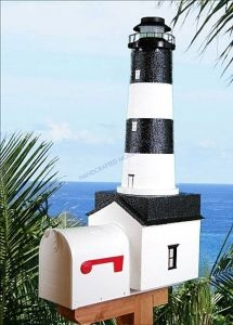 Fire Island Solar Powered Stucco Lighthouse Mailbox 36