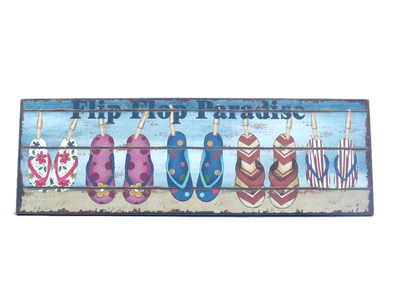 Wooden Flip Flop Paradise Beach Sign 24