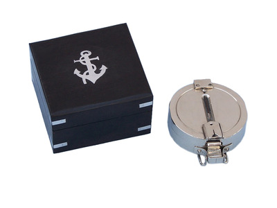 Chrome Clinometer Compass with Black Rosewood Box 4