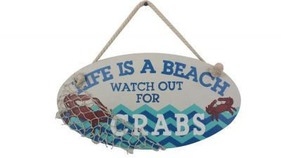 Wooden Life Is A Beach Watch Out For Crabs Sign 15""