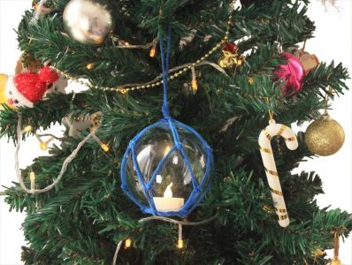 LED Lighted Clear Japanese Glass Ball Fishing Float with Blue Netting Christmas Tree Ornament 3\