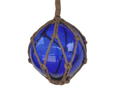 Blue Japanese Glass Ball Fishing Float With Brown Netting Decoration 6\