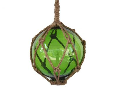 Green Japanese Glass Ball Fishing Float With Brown Netting Decoration 6\