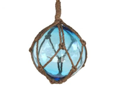 Light Blue Japanese Glass Ball Fishing Float With Brown Netting Decoration 6\
