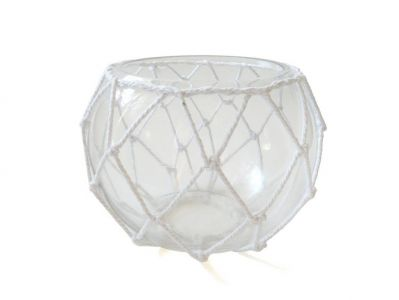 Clear Japanese Glass Fishing Float Bowl with Decorative White Fish Netting 8\