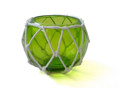 Green Japanese Glass Fishing Float Bowl with Decorative White Fish Netting 6\