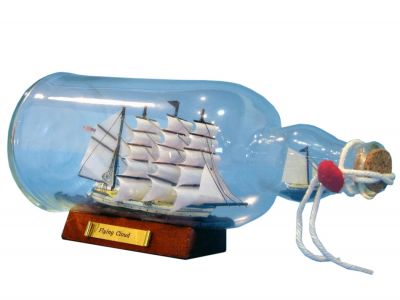 Blue Flying Cloud Ship in a Bottle 11