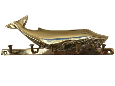 Solid Brass Whale Key Rack 6