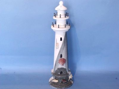 Wooden Whitewash Shell with Net Lighthouse 21