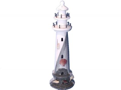 Wooden Whitewashed Shell with Net Lighthouse 21