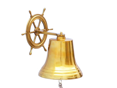 Brass Hanging Ship Wheel Bell 14