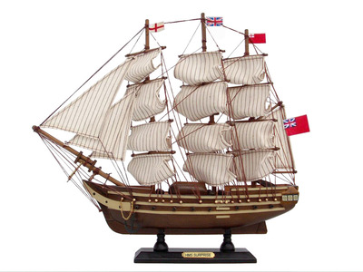 Wooden Master And Commander HMS Surprise Tall Model Ship 14""