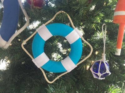 Vibrant Light Blue Decorative Lifering With White Bands Christmas Ornament 6""
