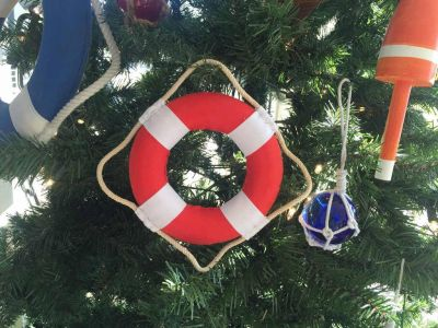 Vibrant Red Decorative Lifering With White Bands Christmas Ornament 6\