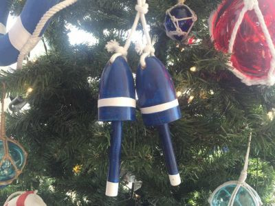 Wooden Dark Blue Decorative Maine Lobster Trap Buoys Christmas Ornament 7\