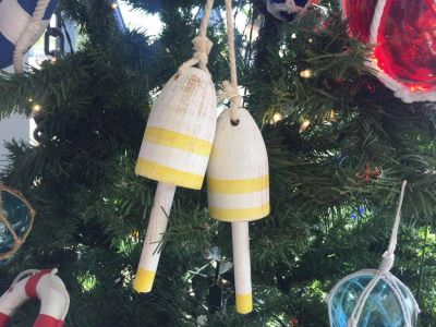 Wooden Vintage Yellow Decorative Maine Lobster Trap Buoys Christmas Ornament 7\