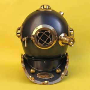 Solid Brass Mark V Black Divers Helmet 17
