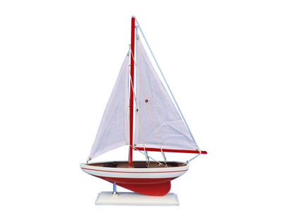 Wooden Red Pacific Sailer Model Sailboat Decoration 17""