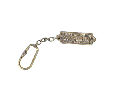 Solid Brass Captains Sign Keyring 5