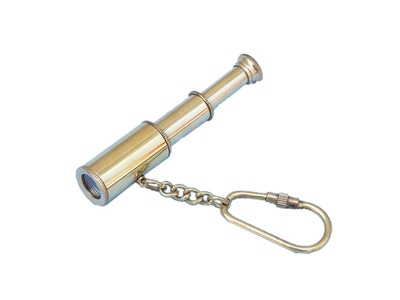 Solid Brass Telescope Key Chain 6