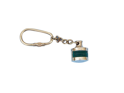 Solid Brass Green Ship Oil Lamp Key Chain 4
