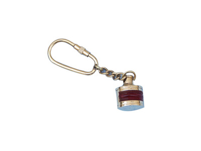 Solid Brass Red Ship Lamp Key Chain 4