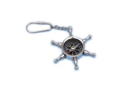 Chrome Ship Wheel Compass Key Chain 5