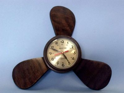 Bronze Colored Aluminum Ships Propeller Wall Clock 12