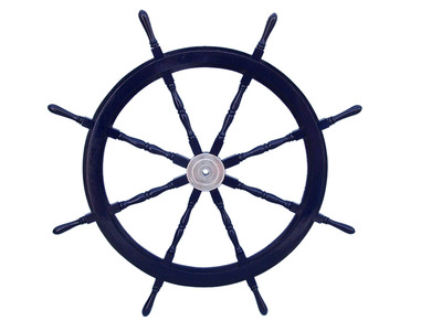 Deluxe Class Dark Blue Wood and Chrome Ship Steering Wheel 48