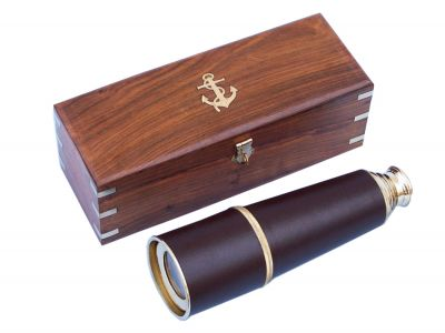 Deluxe Class Admirals Brass - Leather Spyglass Telescope 32 w- Rosewood Box