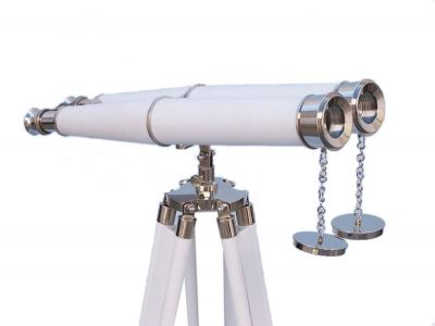 Hampton Collection Chrome with White Leather Binoculars 62
