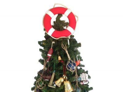 Vibrant Red Lifering with White Bands Christmas Tree Topper Decoration