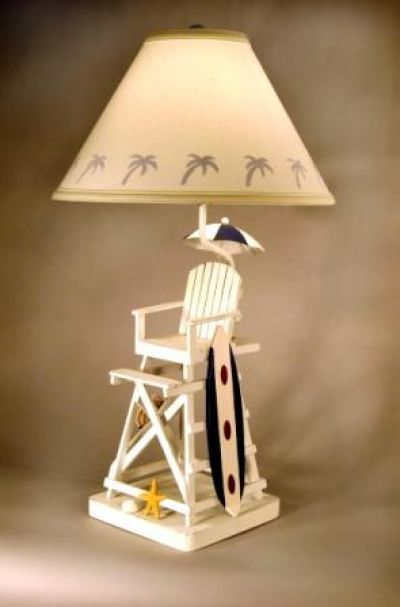 Lifeguard Chair with Surfboard Electric Lamp 28