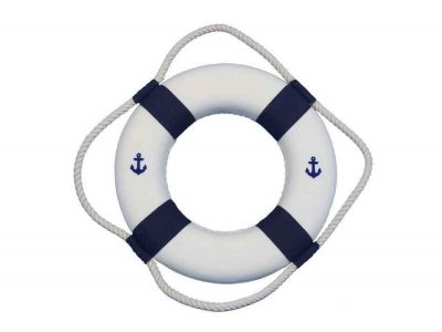 Classic White Decorative Anchor Lifering With Blue Bands 10\