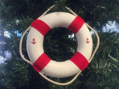Classic White Decorative Anchor Lifering With Red Bands Christmas Ornament 6""
