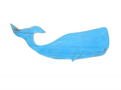 Wooden Rustic Light Blue Wall Mounted Whale Decoration 40\