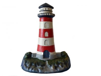 Ceramic Red-White Lighthouse Door Stop 13