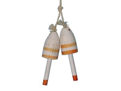 Wooden Vintage Orange Maine Lobster Trap Buoy 7 - Set of 2