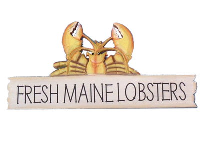 Wooden Fresh Maine Lobster Sign 17""