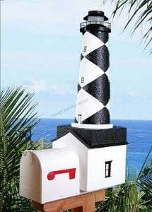 Cape Lookout Solar Powered Stucco Lighthouse Mailbox 36