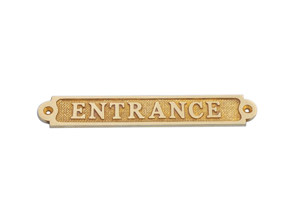 Solid Brass Entrance Sign 6