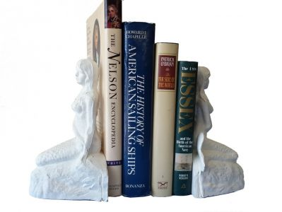 Whitewashed Cast Iron Mermaid Bookends 8