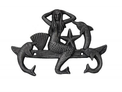 Rustic Silver Cast Iron Wall Mounted Mermaid with Dolphin Hooks 9""