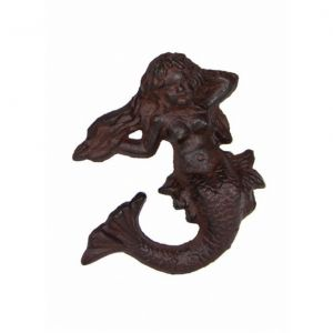 Rustic Cast Iron Mermaid on Ledge 4