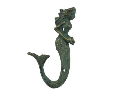 Antique Bronze Cast Iron Decorative Mermaid Hook 6\