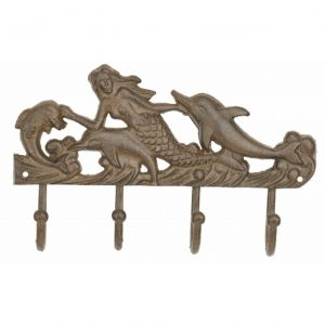 Rustic Cast Iron Mermaid With Dolphin Key Rack 10