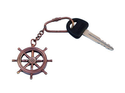 Antique Copper Ship Wheel Key Chain 5